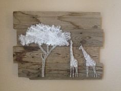 String Giraffes on Wooden Background by StringWood on Etsy