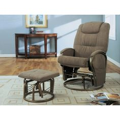Monarch Specialties 2-Piece Swivel Rocker Recliner Chair Set w/Ottoman