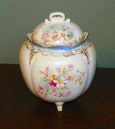 Vintage R S Covered Biscuit Jar Cracker antique by FavrileFinds,