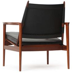 View this item and discover similar for sale at - 'Broadway' armchair having an exposed rectilinear frame in solid teak supporting an angled leather-upholstered seat and back, with an expressive finial Scandinavian Chairs, Teak, Armchair, Furniture, Design, Home Decor, Sofa Chair, Single Sofa, Decoration Home