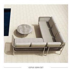 The new Cetus sofa set forms part of our imported range. Characterized by a unique woven frame which sits within an elegant powder-coated aluminum support structure. It includes plush back and seat cushions - as seen. Contact us for more info.