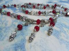 Sophist Red and Clear Crystal Necklace in by FizbanFunDesigns, $30.00