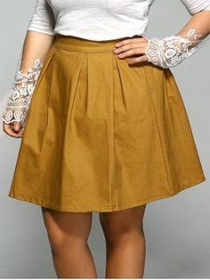 e9a61cbf9ecd0 Plus Size Elastic Pleated Mini Skater Skirt Pleated Mini Skirt