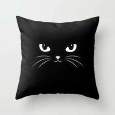 Cute Black Cat Throw Pillow by Badbugs_art - # by # . : Cute Black Cat Throw Pillow by Badbugs_art – Sewing Pillows, Diy Pillows, Decorative Pillows, Throw Pillows, Cat Throw, Cute Black Cats, Interior House Colors, Cat Pillow, Cushion Pillow