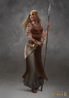 Total War: Rome II - Germanic Female Champion by telthona armor clothes clothing fashion player character npc | Create your own roleplaying game material w/ RPG Bard: www.rpgbard.com | Writing inspiration for Dungeons and Dragons DND D&D Pathfinder PFRPG Warhammer 40k Star Wars Shadowrun Call of Cthulhu Lord of the Rings LoTR + d20 fantasy science fiction scifi horror design | Not Trusty Sword art: click artwork for source