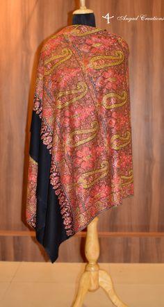 Kashmiri Suits, Kashmiri Shawls, Cashmere Wrap, Cashmere Shawl, Hand Work Embroidery, Embroidery Designs, Pashmina Shawl, Embroidery Fashion, Shawls And Wraps