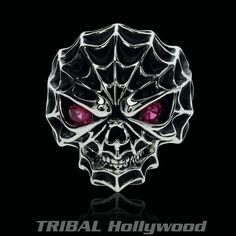 Ecks Vegas Nightlife Jewelry For Men Skull Tattoo Design, Skull Tattoos, Skull Pictures, Skull Jewelry, Skull Rings, Jewellery, Skulls And Roses, Mens Silver Rings, Ruby Stone
