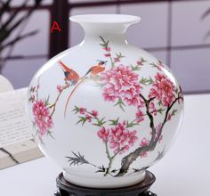 Handmade Chinese Traditional Hand Painted Cherry Blossom Vase, Chinese Handpainted Floral / Lovely Birds Vase, Zen Home / Office Decor, Gift by LuvHandmadeAtelier on Etsy