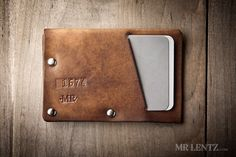 Leather Wallet with snap leather card wallet men's por MrLentz