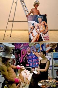 """painter Tim Patch (""""pricasso"""") paints with his pecker and also uses his ass for broader stokes, e.g., background."""