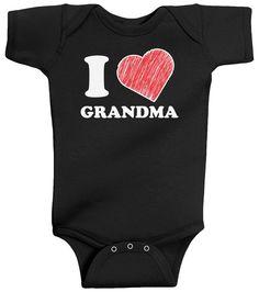 Threadrock Unisex Baby I Love Grandma Bodysuit 18M Black
