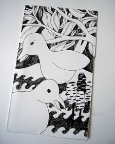 Birds in Spring, two intuitive drawings by suzi poland, ink on paper http://suzipoland.blogspot.com.au/2013/09/birds-in-spring.html