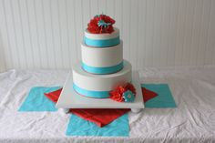 16 inch cake stand base in white - wedding cake stand, shown in teal turquoise and red. $45.00, via Etsy.
