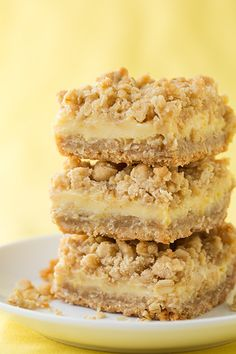 Lemon Creme Crumb Bars - you'll be dreaming about these bars. I love them cold, they're so lemony and refreshing.