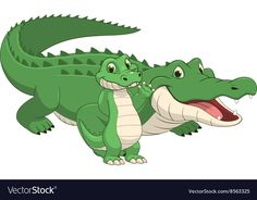 Crocodile with cub Royalty Free Vector Image - VectorStock Cute Cartoon Pictures, Cute Animal Pictures, Animated Cow, Crocodile Cartoon, Cute Animals Images, Looney Tunes Cartoons, Video X, Animal Drawings, Designs To Draw