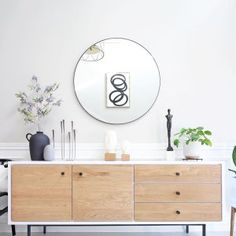 Head sculptures and plants are my top no-fail decor accessories🗿🌿 Happy long weekend my friends🖤 {sources are tagged👆🏻} Credenza Decor, Living Room Furniture, Living Room Decor, Mid Century Modern Sideboard, White Sideboard, Sideboard Buffet, Scandinavian Furniture, Home Decor Accessories, Interior Design