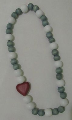 Blue and white with red heart necklace