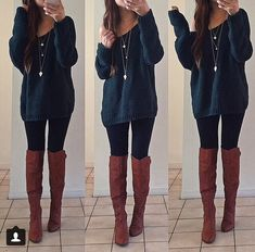 Cute outfit: Leggings paired with a comfy loose sweater and boots
