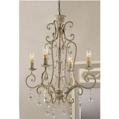 Shabby Vintage Metal Crystal Chandelier   Traditional   Chandeliers     By  Amazo