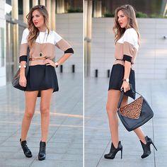 White Coffee Black Color Block Dress