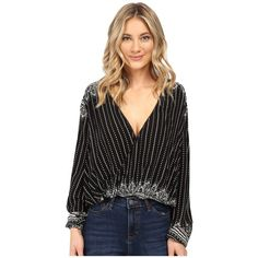Rip Curl Winter Bird Top (Black) Women's Blouse ($35) ❤ liked on Polyvore featuring tops, blouses, rip curl, wrap front top, viscose top, wrap front blouse and deep v neck top
