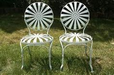 Antique Vtg Francois Carre Metal Sunburst Spring Garden French Patio Side Chairs Homed. : french patio chairs - Cheerinfomania.Com