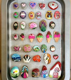 Painted stone magnets