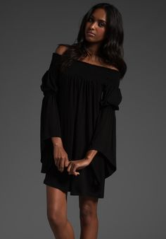 $70 JAMES & JOY Aubrey Off Shoulder Dress in Black at Revolve Clothing - Free Shipping!