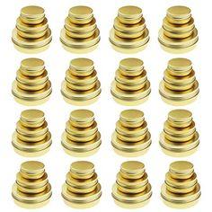 AmazonSmile: Golden Round Aluminum Cans Screw Lid Metal Tins Jars Empty Slip Slide Containers 48 Pieces 2oz 1oz 0.5oz Mixed Sizes: Home & Kitchen