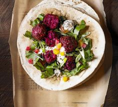 Beetroot falafel - Jazz up an all-time vegetarian favourite by adding vibrant beetroot - serve with tahini yoghurt dip and pickled beets