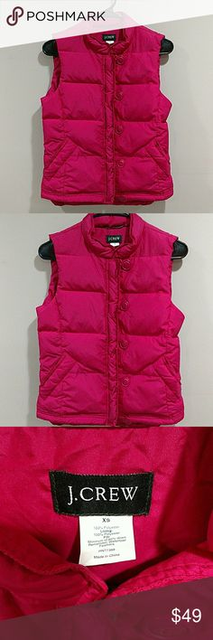 J. CREW DOWN PUFFER VEST SIZE XS EXCELLENT J. CREW DOWN PUFFER VEST. PINK/MAROON COLOR. GREAT CONDITION, LAST PIC SHOWS A SUPER FAINT SPOT.... CANNOT SEE UNLESS YOU ARE SEARCHING HARD FOR IT. J. Crew Jackets & Coats Vests