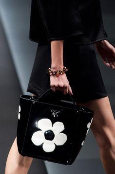 Prada Spring 2013 - black bag with white big printed flower <3