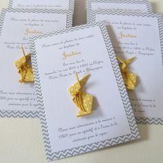 Faire part de baptême ou naissance lapin en origami - jaune