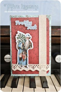 Dieser Weihnachtsmann war beim Stilberater und trägt nun schickes Blau.    Das Motiv stammt von einer Original-Postkarte aus der Zeit zwischen 1898 un Poster, Etsy, Instagram, Santa Clause, Xmas Cards, Postcards, Blue, Gifts, Billboard