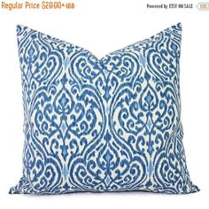 15% OFF SALE Two Decorative Throw Pillow Covers - Blue and Beige Ikat - 12x16 12x18 14x14 16x16 18x18 20x20 22x22 24x24 26x26 Pillows - Blue