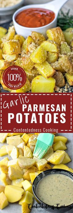 These are seriously the most delicious Garlic Parmesan Potatoes you've ever made for everyone loving delicious comfort food. Just 6 ingredients, 3 easy steps, vegan, gluten free. Can you guess the secret ingredient?