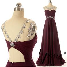 Description New Arrival Evening Dresses Wedding Party Dresses Cap Sleeve Beaded Unique Design Long Chiffon A Line Crystal Prom Dress 2014 The design