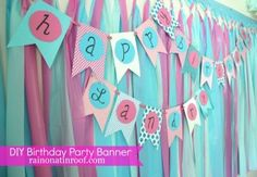 DIY Birthday Banner: An easy DIY Banner for any occasion! No fancy cutting tools required for this simple, but cute DIY Birthday Banner! She provides a full tutorial including a link to a bunting template! Diy Party Banner, Birthday Banner Template, Birthday Party Decorations Diy, Birthday Diy, 1st Birthday Parties, Banner Ideas, Birthday Banners, Birthday Ideas, Bunting Template