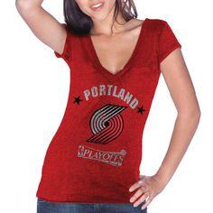Portland Trail Blazers Majestic Threads Women's Playoffs V-Neck Slim Fit T-Shirt - Red