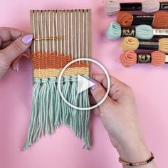 How to make a DIY loom (that actually works) in less than five minutes, using leftover cardboard! Great for group crafts, kids weaving, bachelorette party activities and baby shower activities. Crafts How To Make a DIY Mini Loom Pot Mason Diy, Mason Jar Crafts, Bottle Crafts, Mason Jars, Yarn Crafts, Diy And Crafts, Arts And Crafts, Decor Crafts, Adult Crafts