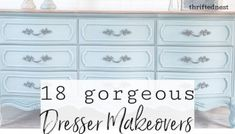 How to Blend Chalk Paint Like a Pro | Dresser Makeover - Thrifted Nest White Painted Dressers, White Painted Furniture, Chalk Paint Furniture, Dresser Furniture, Diy Furniture, Refurbished Furniture, Furniture Projects, Redoing Furniture, Dresser Refinish
