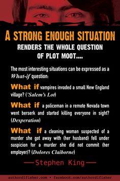 Novel-writing advice from Stephen King, on plot. #StephenKing #horror #writing #novel_plot #WritingInspiration