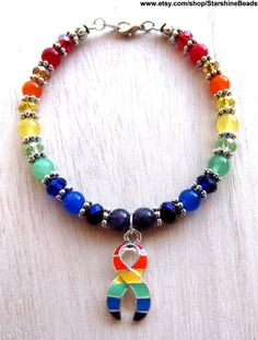 Gay Pride Bracelet  Rainbow Bracelet LGBT Gay by StarshineBeads