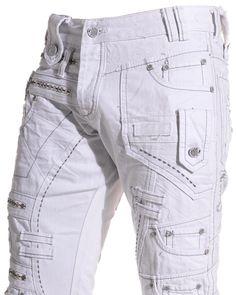 Japrag - Jeans homme double ceinture blanc - Couleur : Blanc Taille : Fr 44 US 34: Amazon.fr: Vêtements et accessoires
