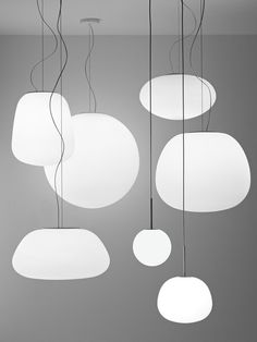 Lumi Mochi Pendants - white satin-finish blown glass with soft shapes | lighting . Beleuchtung . luminaires | Design: Alberto Saggia with Valerio Sommella | Fabbian |