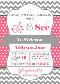 Sip & See Baby Girl Shower Invitation - great for inviting close family and friends to come see the newborn