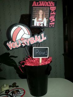 Centerpiece for senior volleyball banquet.