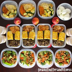 Meal Prep Ideas - This week it's Asian ground turkey with veggies and rice, Chili lime chicken with quinoa black bean salad and corn on the cob, Baked lemon tilapia with sweet potato and squash, plus overnight oats and hard boiled eggs.  Full nutritional info and recipes available! #MealPrepMonday