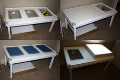 Built at home sensory table and light boxes.