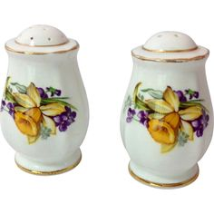 A large and lifelike daffodil adorns these Woodland Wonder Bone China salt and pepper shakers by Royal Standard, England. These urn shaped paneled shakers are decorated with a large yellow daffodil Vintage Dishes, Vintage Glassware, Vintage Dinnerware, Daffodils, Salt And Pepper, Bone China, French Vintage, Woodland, Unique Gifts